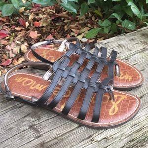 Sam Edelman Black Garland Flat Sandals Size 6.5
